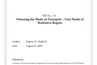 WP No. 19 Choosing the Mode of Transport – Case Study of Bratislava Region