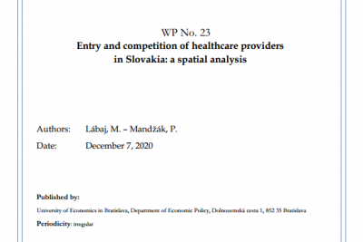 WP No. 23 Entry and competition of healthcare providers in Slovakia: a spatial analysis