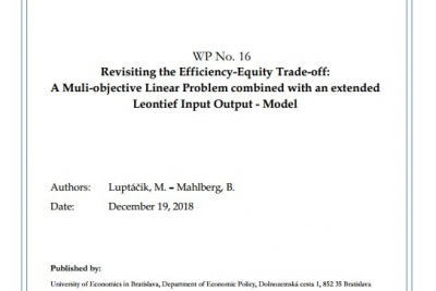 WP No. 16 Revisiting the Efficiency-Equity Trade-off:  A Muli-objective Linear Problem combined with an extended Leontief Input Output - Model